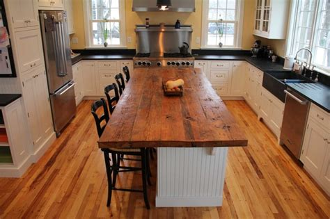 kitchen island wood countertop reclaimed white pine kitchen island counter transitional kitchen boston by longleaf