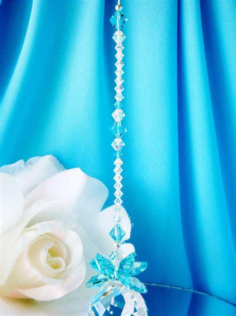 crystal suncatcher turquoise blue feng shui decor