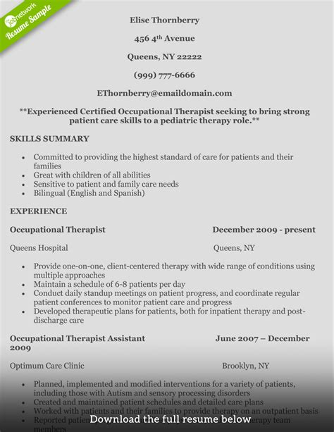 Pediatric Ot Resume by How To Write A Occupational Therapist Resume
