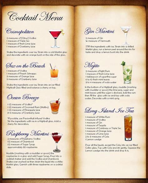 Cocktail Menu Table Plan Idea  Bryk Bar Karte Pinterest