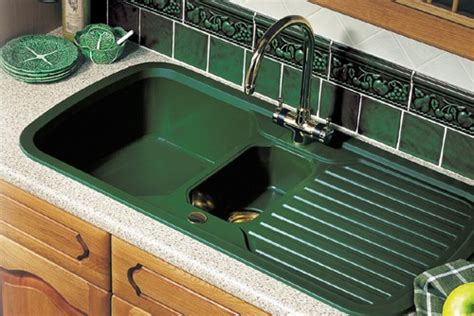 bowl green sink  brass tap waste rangemaster