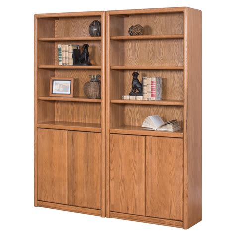 oak bookcase with doors martin home furnishings contemporary wall bookcase with