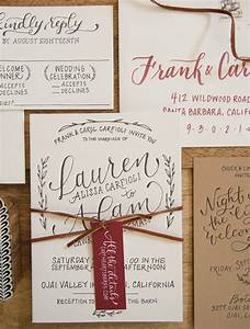 Rustic hand lettered wedding invitations for Hand lettered invitations