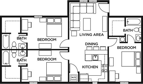 3 bed 2 bath floor plans 3 bed 3 bath standard the lodges of east lansing