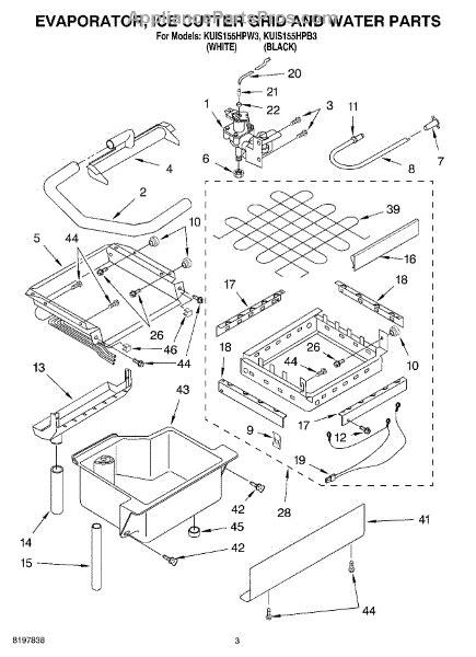 parts  kitchenaid kuishpw evaporator ice cutter grid  water parts