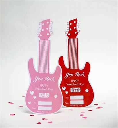 Party Valentine Guitar Valentines Printables Gift Favor