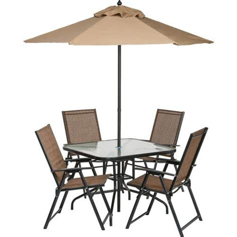 Garden Table And Chairs With Umbrella by 6 Outdoor Folding Patio Set With Table 4 Chairs
