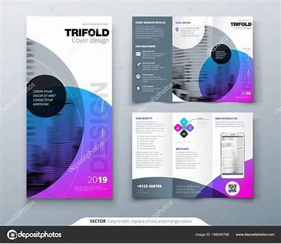 Brochure Fold Tri Flyer Layout Circle Purple