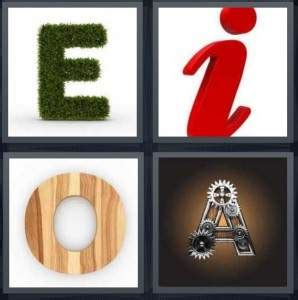 4pics1word 6 letters 4 pics 1 word answer for e i o a heavy 20212 | vowels 298x300