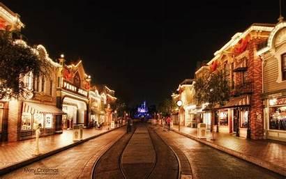 Wallpapers Disneyland Christmas Street Main Night Usa