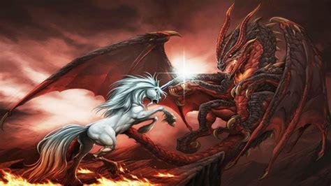 fantasy dragon unicorn war abstract ultra  hd