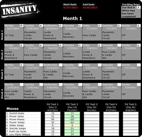 insanity calendar month  health  pinterest
