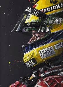 ... By Type / F1 Art / Senna 'Profile' - Paul Oz Hand Embellished Print Senna