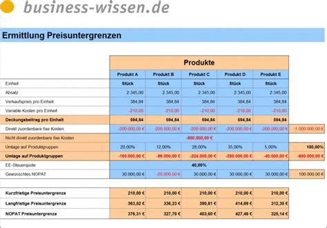 preisuntergrenzen berechnen excel tabelle business
