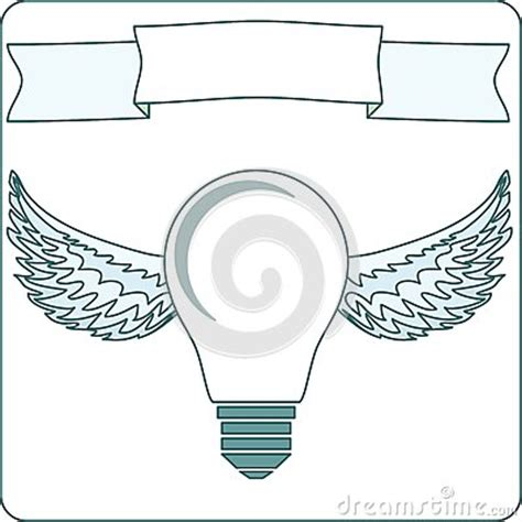 icon light bulb l with wings halo banner stock vector