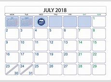 July 2018 Calendar Printable With Holidays monthly
