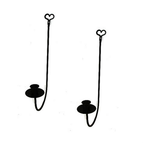 Iron Candle Sconce by Black Wrought Iron Single Arm Wall Candle Sconces Pair