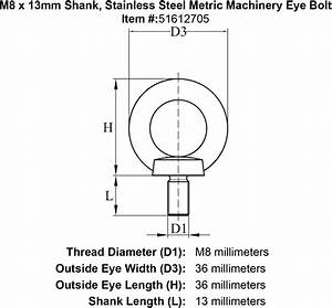 M8 X 13mm Shank  Stainless Steel Metric Machinery Eye Bolt