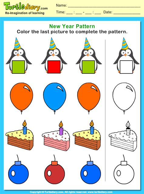 color  picture  complete  pattern worksheet