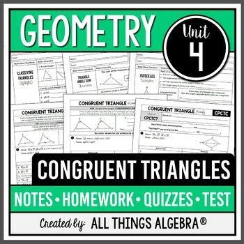 Name date math portfolio rubric unit name: Congruent Triangles (Geometry Curriculum - Unit 4) by All ...