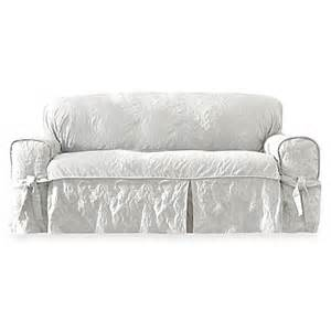 buy sure fit 174 matelasse damask 1 sofa slipcover in white from bed bath beyond