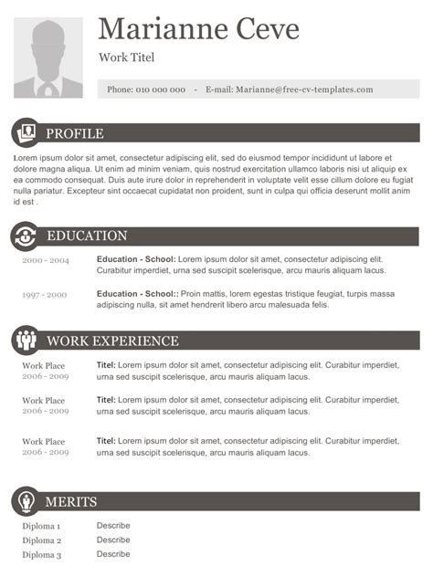 Free Resume Templates Downloads With No Fees by Boxes Free Cv Template