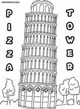Tower Coloring Pages Building Pizza Colorings sketch template