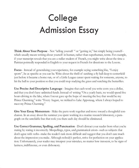 sample college essay 8 examples in word pdf 677 | College Admission Essay Sample1