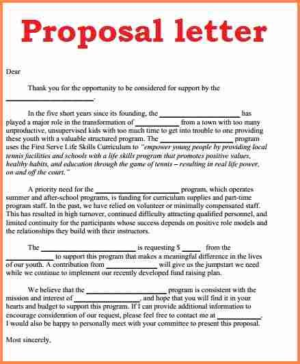 write  business proposal letter sample