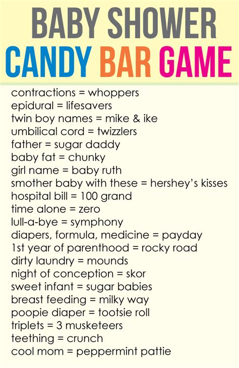 printable baby shower candy bar game cutestbabyshowerscom