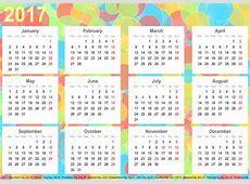 Calendar 2017 background colorful circles USA — Stock