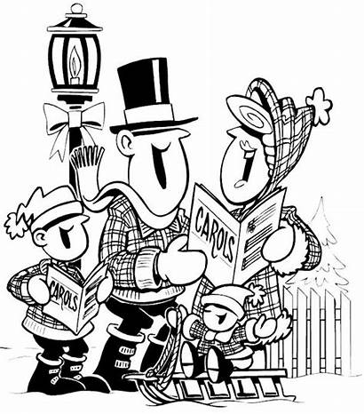 Coloring Christmas Bing Clipart Pages Stamps Carolers