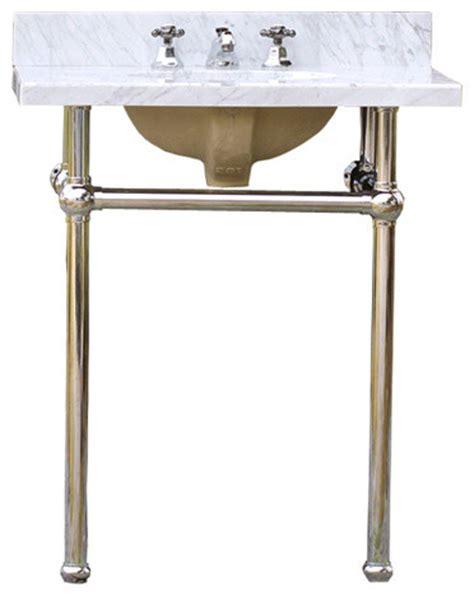 bath console sink deco vanity chrome legs white carrara