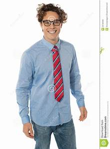 A Young Teenager In Blue Shirt Jeans And Tie Stock Image - Image 24140183