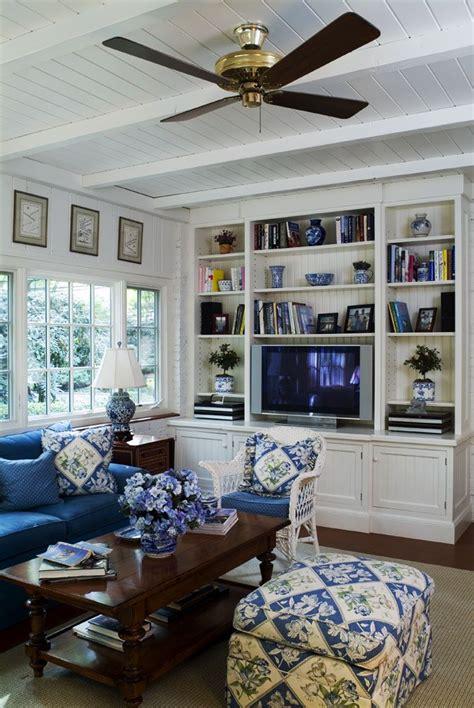 blue  white family room   white panel walls
