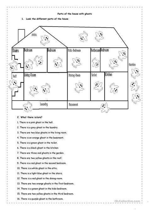 parts of the house with ghosts worksheet free esl
