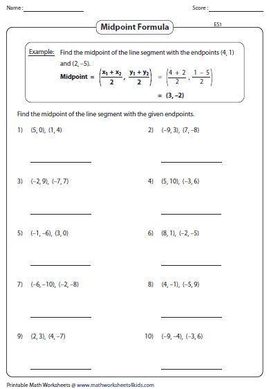 midpoint worksheet midpoint formula worksheets