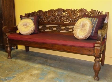 hand carved indonesian bench  gadogadocom bali