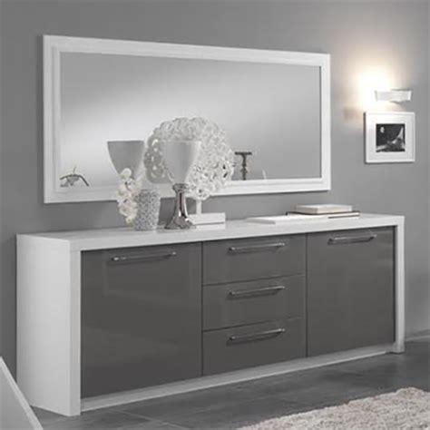 cuisine moderne blanc laqué bahut 2 portes 3 tiroirs fano laqué blanc et gris blanc