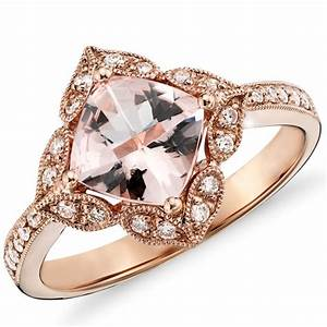 2 83 ct cushion morganite vintage antique engagement for Where can i sell my old wedding ring