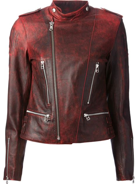 red leather motorcycle jacket each x other embossed leather biker jacket in red lyst