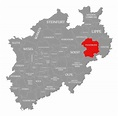 Paderborn Red Highlighted In Map Of North Rhine Westphalia ...