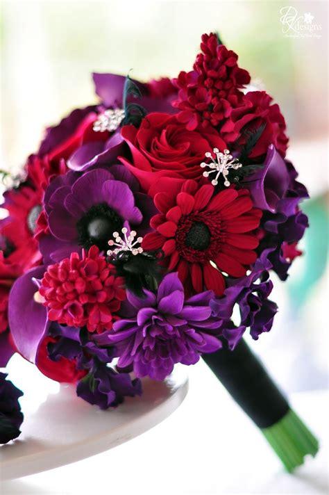 red  purple wedding flowers wedding  bridal