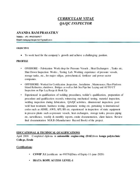 Qa,qc Inspector Ananda Ram Prasathv Resume. Graduate Student Resume Samples. Extracurricular Activities For Resume. Top Words To Use In Resume. Dental Resume Sample