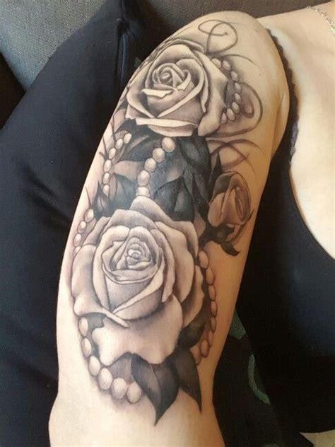 realistic roses pearls tattoo tattoos pinterest