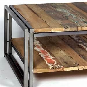 Table Bois Et Fer : table basse planche bois ~ Teatrodelosmanantiales.com Idées de Décoration