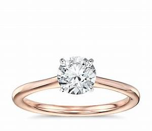 petite solitaire engagement ring in 14k rose gold blue nile With solitaire wedding ring