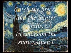 Don McLean Lyrics Vincent Starry Starry Night