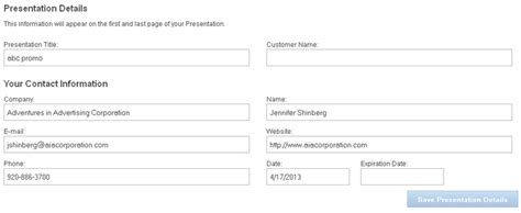 contanct detailes template qs esp web presentations customizing your template