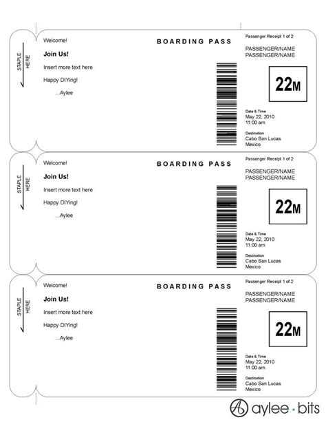 Boarding Pass Template Boarding Pass Invitation Template By Ayleebits Lucas